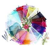 COCOScent Mix Colour Gift Package 4x6 Inch 100pcs Wedding Drawstring Bag Baby Bath Supplies Net Bag Gift Bag Candy Bag & Drawstring (100pcs,20Colors, 10 X 15 cm) (1#)