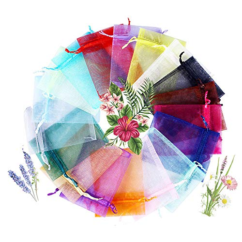 COCOScent Mix Colour Gift Package 4x6 inch 100pcs Wedding Drawstring Bag Baby Bath Supplies Net Bag Gift Bag Candy Bag & Drawstring (100pcs,20Colors, 10 X 15 ()