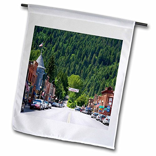 3dRose fl_90029_1 Main Street, Old Brick Buildings, Wallace, Idaho David R Frazier Garden Flag, 12 by 18-Inch
