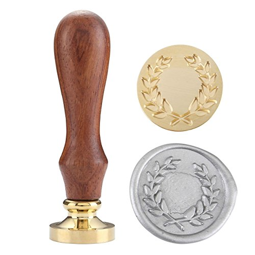 Vintage Wax Seal Stamp with Classical Patterns for Invitations Wooden Handle & Antique Brass Head (Olive Wreath)