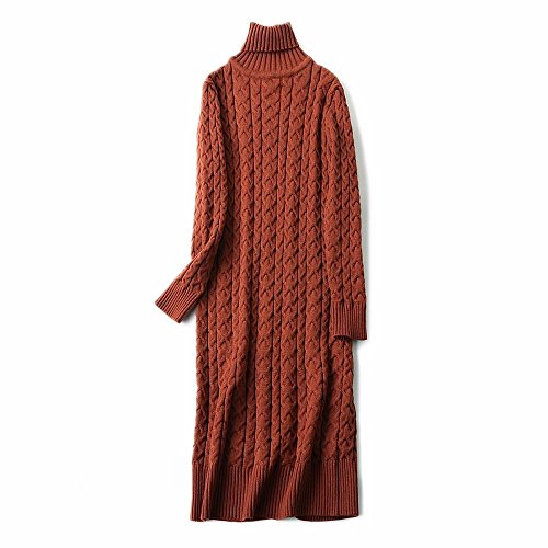 amp;qiumei Bianco Maglione Lungo Caramel Turtleneck Color Ome dxnWwEd