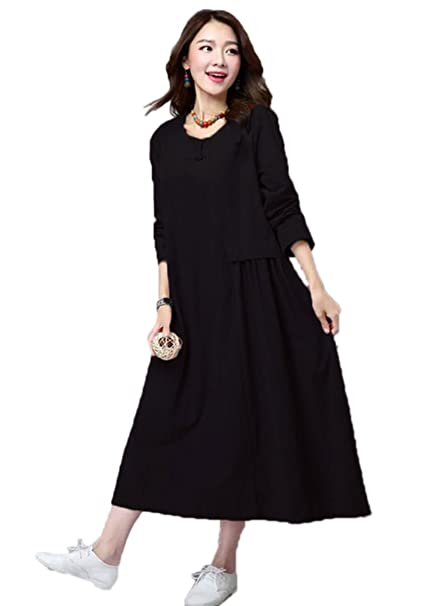 4ca5bd59dd63b Celmia Women's Cotton Linen Long Sleeve Maxi Dress Solid Ruffle Tunic Dress