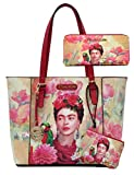 Frida Kahlo Licensed Large Purse Wallet Set, Flowers and Bird Collection (Red)