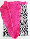 "Satin Minky Dot Baby Blanket - 30""x30"" Soft Satin with Matching Minky Side (Hot Pink Damask)"