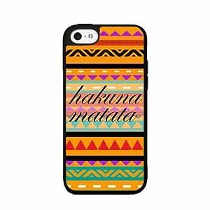 Zheng caseHakuna Matata Tribal Print Case Back Cover (iPhone 5c Black - Plastic)