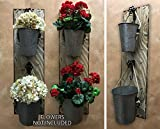 BUCKET Herb Garden Flower Planter Pot Wall Double Tin Pail SCONCE with Metal Hooks *Reclaimed Country Rustic Distressed Unique Wood Decor - Antique Barn Red, White (Off-White) *Flowers NOT included