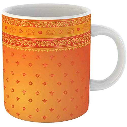 Coffee Office Mug Gift 11 Ounces Funny Ceramic Red Indian Orange Sari Border Pattern Dress Gifts For Family Friends Coworkers Boss Mug
