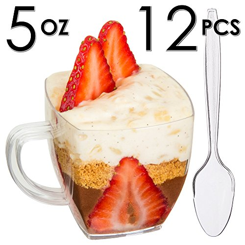 Mini Dessert Cups, Appetizer Bowls with Spoons & Recipe e-Book [Clear Plastic, 5 oz, Espresso Coffee Mug, 12 Count] Small Catering Supplies, Disposable Parfait Tasting Glasses