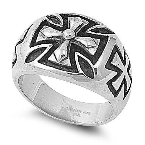 Greek Style Cross - Stainless Steel Greek Cross Style Men's Ring Size 11