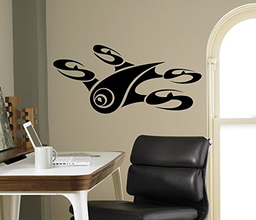 Air Drone UAF Aircraft Wall Vinyl Decal Quadcopter Wall Sticker Aircraft Home Wall Art Decor Ideas Interior Kids Room Removable Design 17(drn) by Wall Vinyl Decals