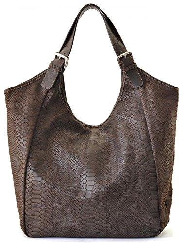 CUIR DESTOCK sac à main porté main et épaule cuir façon serpent modèle bellucci - nouvelle collection 2018 MARRON FONCE