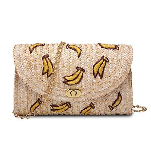 Suanni Womens Straw Clutch bag,Hand-woven Crossbody Messenger bags (Banana)