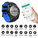 F3 Wireless Smart Bracelet Waterproof IP68 Sport Watch Support Altimeter/Pedometer/Barometer/UV Display/Sleep Monitor/Remote Camera/Message Remind/Calorie Consumption for Android iOS iPhone (Blue)