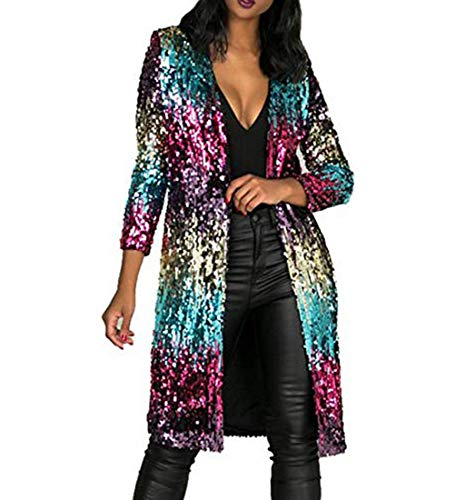 Loneflash Autumn Cover Up Long Sleeve Sequins Metallic Open Front Cardigan Coat