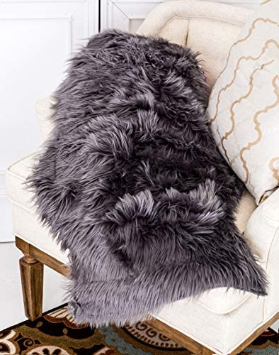 Home Must Haves Sheep Skin Super Soft Faux Fur Hair Long Pile Shaped Area Rug 2' x 3' Feet Grey