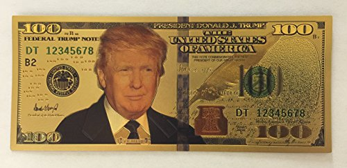 Large Product Image of Authentic $100 President Donald Trump Authentic 24kt Gold Plated Commemorative Bank Note Collectors Item by Aizics Mint
