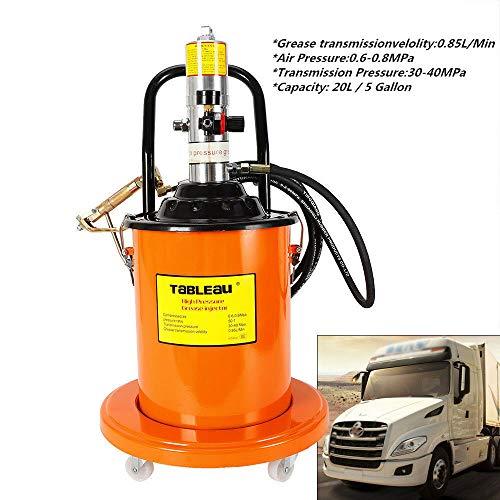 Grease Pump, 20L High Pressure Grease Pump Air Operated Grease Pump Pneumatic Universal Gun  Hose 5 Gallon (US Stock)
