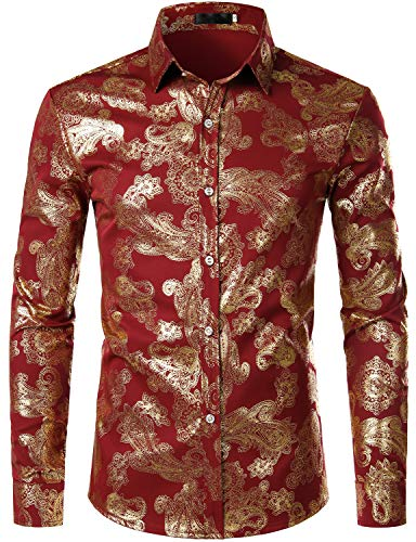 ZEROYAA Mens Hipster Paisley Shirt Luxury Design Slim Fit Long Sleeve Button Down Shirts Party Costume ZZCL40 Burgundy Small]()