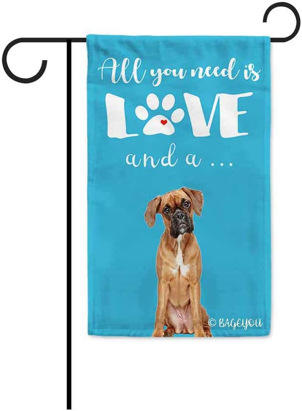 BAGEYOU All You Need is Love and a Dog Boxer Decorative Garden Flag for Outside Cute Puppy Paws Baby Blue Background 12.5X18 Inch Printed Double Sided