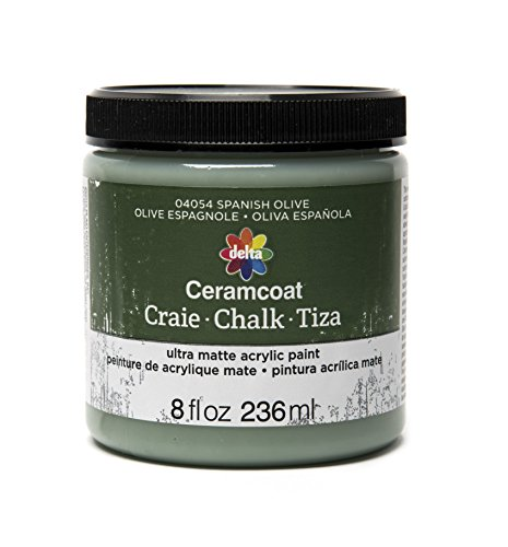 Olive Paint - Delta Creative Ceramcoat Ultra Matte Chalk Furniture & Craft Paint in Assorted Colors (8 Ounce), 04054 Spanish Olive