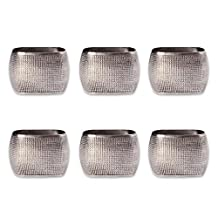 DII Napkin Rings for Weddings, Dinners, Parties, or Everyday use, Set of 6, Silver Square