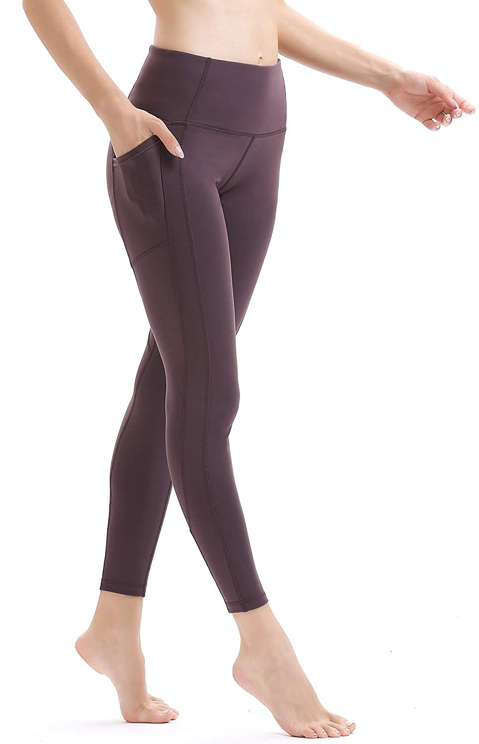 Persit Women's High Waist Yoga Pants 2 Pockets, Non See-Through Tummy Control 4 Way Stretch Yoga Leggings