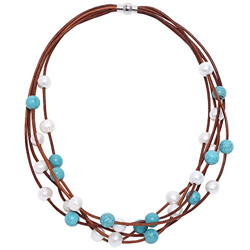 Multi Freshwater Necklace Pearl (PERNNLA PEARL Cultured Freshwater Pearl Beaded Multi-Strand Necklace Handmade Genuine Leather Reconstituted Synthetic Turquoise Beads Necklace 19'')
