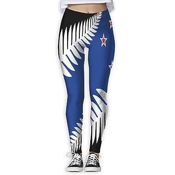 a02a990d96cf0 Amazon.com: Women's Girl New Zealand Flag High Waist Casual Leggings ...