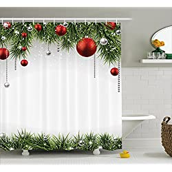 Ambesonne Christmas Shower Curtain, Classical Christmas Ornaments and Baubles on Pine Tree