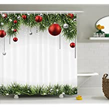 Christmas Shower Curtain Fabric Decorations by Ambesonne, Classical Christmas Ornaments and Baubles on Pine Tree Twig Tinsel Picture Print, Polyester Fabric Bathroom Curtain Set with Hooks, Green Red