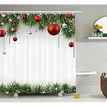 Ambesonne Christmas Shower Curtain Classical Ornaments And Baubles Coniferous Pine Tree Twig Tinsel Print