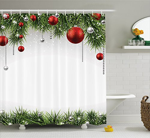 Christmas Decorations Shower Curtain Green by Ambesonne, Classical Christmas Ornaments and Baubles on Pine Tree Twig Tinsel Picture Print, Polyester Fabric Bathroom, 84 Inches Extra Long, Green Red (Long Tinsel)