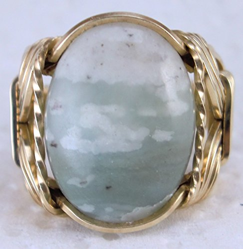 (Natural Green Jasper Gemstone Ring Mens Ladies Unisex 14k Gold Filled or Sterling Silver)