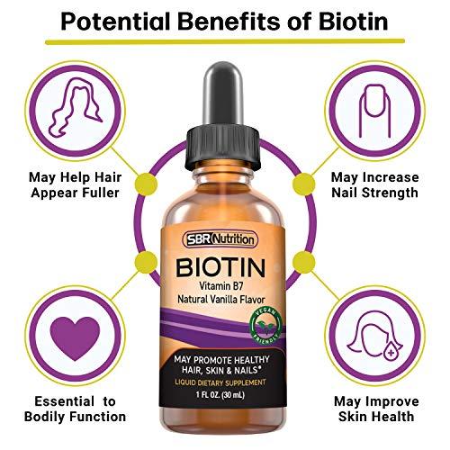 SBR Nutrition Biotin Liquid Drops, 5000mcg per Serving (60) 1.0Fl.oz (30ml) Vanilla