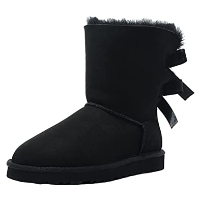c55a8be0dc3 MERUMOTE Women s Black Leather Boots Winter Waterproof Shoes Non-slio Snow  Boots Black 5.5US