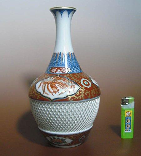 波佐見焼 林九郎窯 金襴手 染錦 花瓶 網目 透かし 彫り 美術品 壷 B01HUWBJT6
