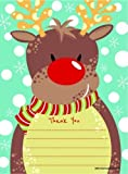 Rudolph Reindeer Christmas Thank You Cards Letters Pack of 20
