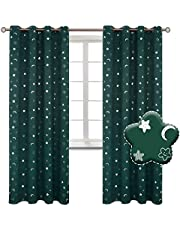 BGment Moon and Stars Blackout Curtains for Boys Bedroom, Grommet Thermal Insulated Room Darkening Printed Kids Curtains,