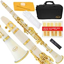 Lazarro 160-WH-L B-Flat Bb Clarinet White, Gold Keys with Case, 11 Reeds, Care Kit and Many Extras