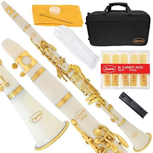 Lazarro 160-WH-L B-Flat Bb Clarinet White, Gold Keys with Case, 11 Reeds, Care Kit and Many Extras (Clarinet Plastic Barrel)