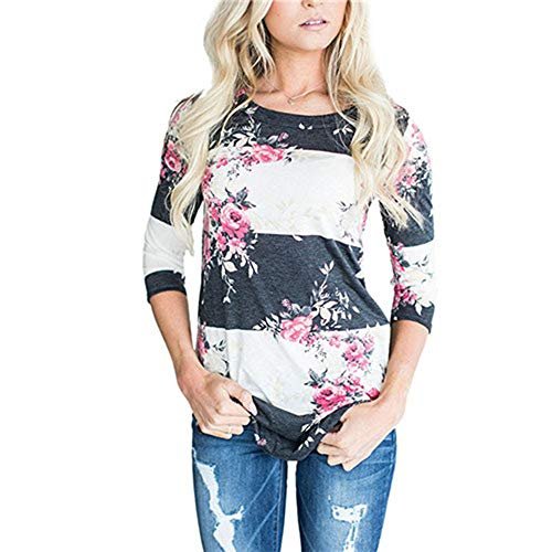 Mingning Blouses for Women Casual Floral Print Long Sleeve Blouse 3/4 Sleeve Shirt Boho Tops Tunic White Gray L