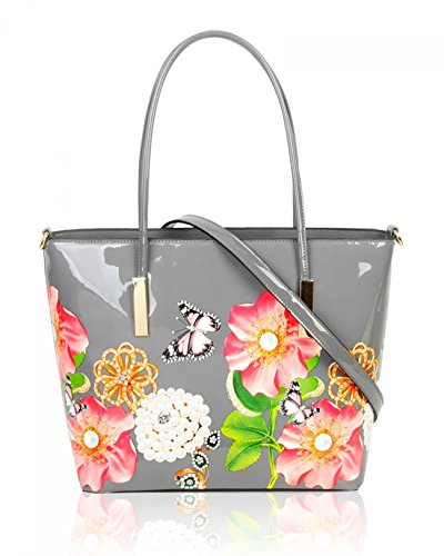 grey LeahWard Flower Shopper Tote Holiday Handbags Work Bag Women's D College Women Patent For Large BgnrOSB