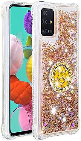 Vloeibare Sparkly Quicksand TPU Gel Siliconen Schokbestendige Telefoonhoes Diamanten Ring Hoezen voor Samsung Galaxy A51 Samsung Galaxy A51 Goud