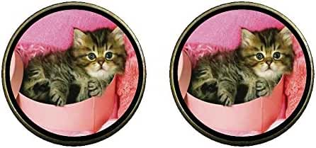 GiftJewelryShop Bronze Retro Style Tabby Cat Photo Clip On Earrings 14mm Diameter