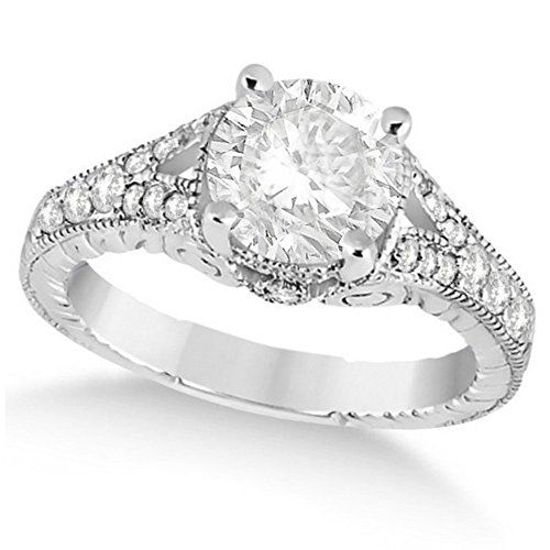 (Antique Style Art Deco Round Diamond Engagement Ring 14k White Gold 1.03ct)