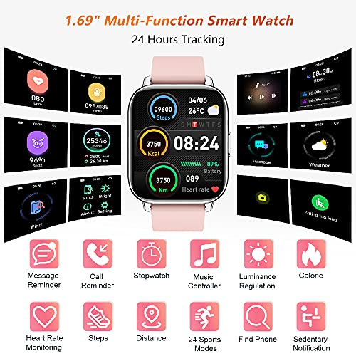 Togala Smart Watch, 1.69 Inch Touch Screen Fitness Watches for Women Sports, Fitness Tracker with Sleep and Heart Rate Monitor Activity Tracker with IP67 Waterproof for Android and iOS Phones, Pink