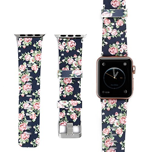 KWLET Silicone Strap Compatible with Apple Watch Band 42mm,Premium Soft Silicone Floral Print Sports Band Bracelet Replacement for Apple Watch Series 3 Series 2 Series 1