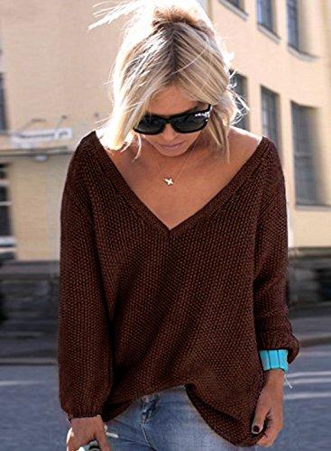 ACHICGIRL Mujer Suéter de Punto Cuello de V Delgado de Moda café