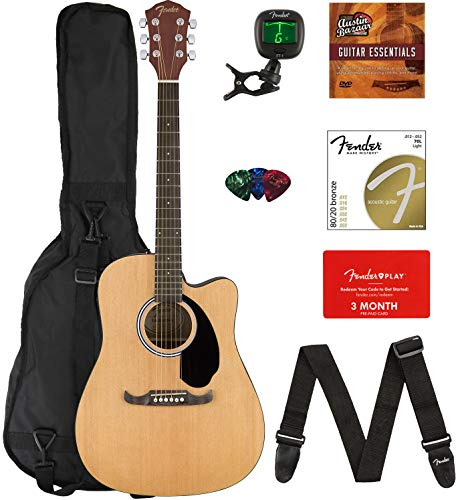 Guitar Electric Acoustic (Fender FA-125CE Dreadnought Cutaway Acoustic-Electric Guitar Bundle with Gig Bag, Strap, Strings, Tuner, Picks, Fender Play Online Lessons, and Austin Bazaar Instructional DVD)