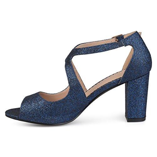 Journee Collection Womens Open Toe Intersecting Straps Glitter Heels Blue Es2XpJ2Cq